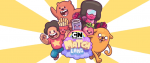 "a group of characters from Cartoon Network games surrounding a splashy logo that says ""CN Match Land"""