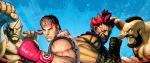 several of the street fighter characters, including Ryu and Zangief, standing in front of a painterly blue background.