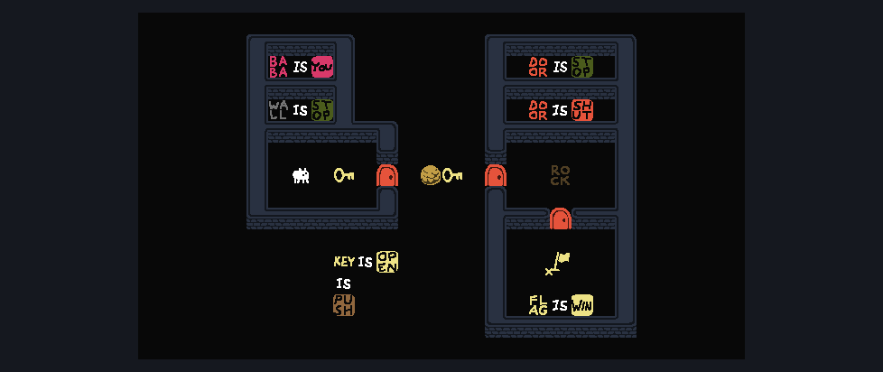 A screenshot from Baba is You, showing simplistic graphics in the form of colorful block puzzles.