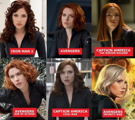 a six pack of images of Scarlet Johannson as Natasha Romanov. Iron Man 2 with dark red curls, Avengers with a short red bob, Winter Soldier with a long blunt straight cut, Age of Ultron with a short curly bob, long curly hair for Civil War and a short blonde bob for Infinity War.