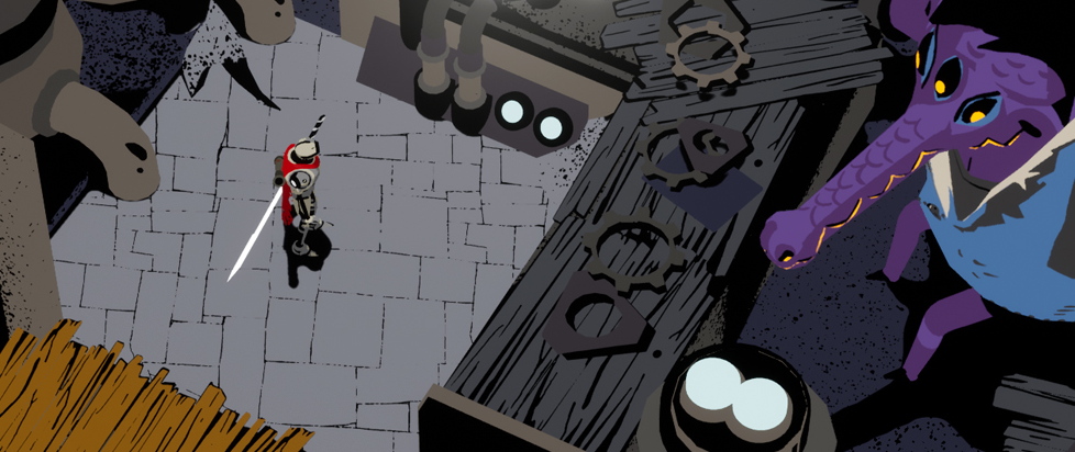 A small red figure stands in a shop like place with a large multiple eyed purple creature.