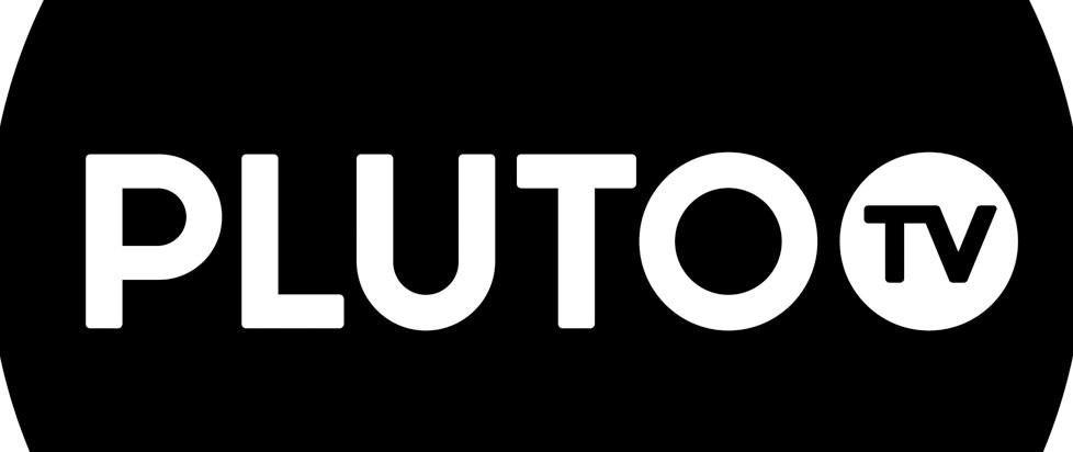 black box with white text that says Pluto TV