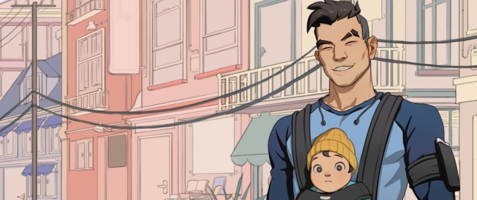 one of the dads from dream daddy holding a baby to his chest and smiling