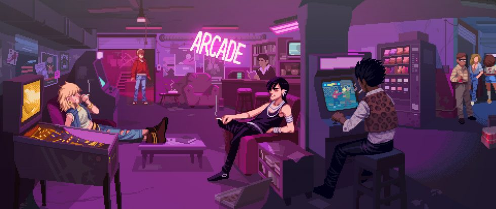 A crew of people in a purple lit arcade.
