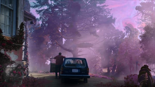 A Northeastern home with a car parked, Nicolas Cage leaving the door, a purpled background around him.
