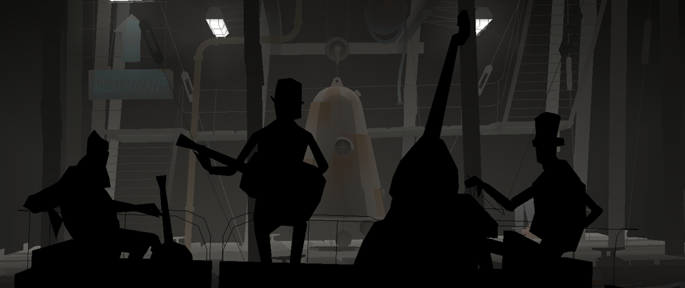 four men playing musical instruments in silhouette.