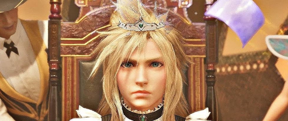 Cloud, dressed as a woman in a tiara and dress, looks uncomfortably towards the camera