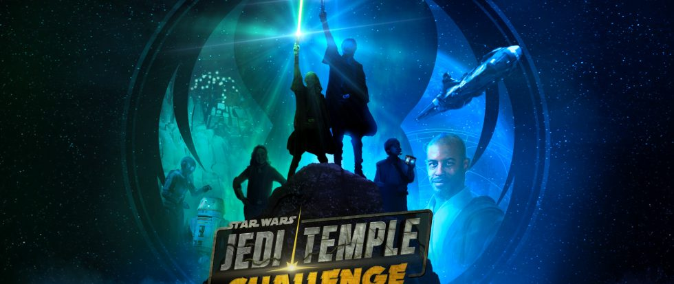 "An image that shows two figures holding light sabers aloft with text that reads ""Jedi Temple Challenge"""