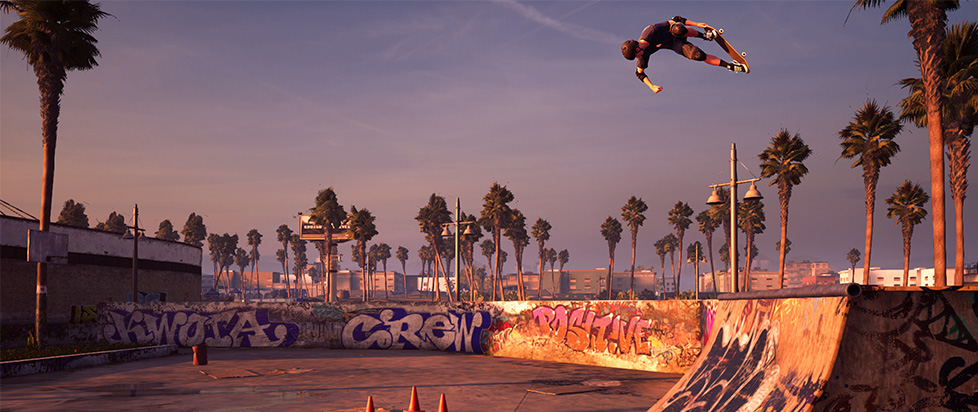 a skateboarder floats effortlessly in the air above a ramp in Tony Hawk's Pro Skater 1 + 2
