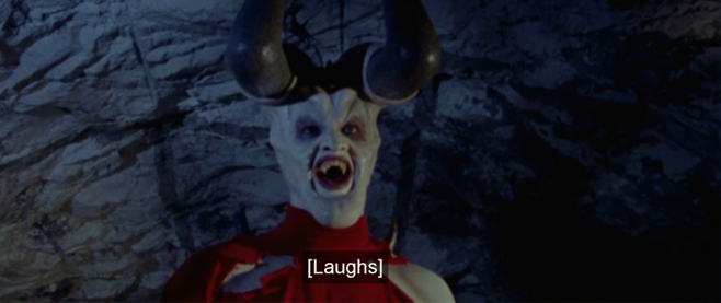 """a demon character with caption that reads """"laughs"""""""