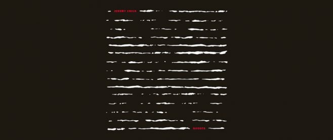 The cover for Jeremy Enigk's alsbum Ghosts, which shows a series of uneven white lines.