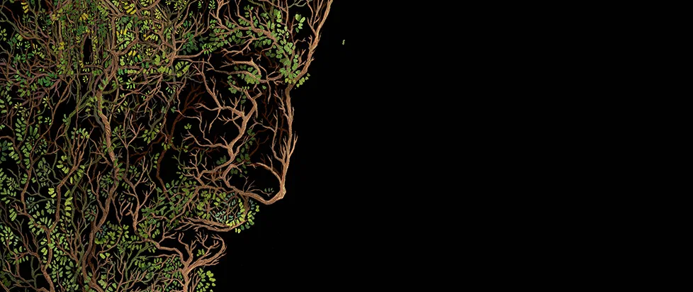 a mans face made of leaves and branches. This is a detail shot of the cover art from Emily Tesh's Silver in the Wood.