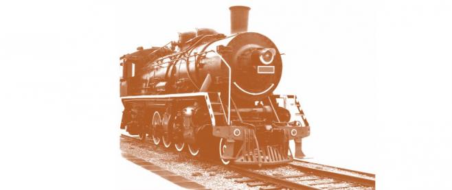 A sepia toned train.