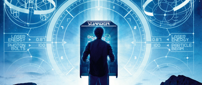 cover detail of the Last Starfighter Blu-Ray showing the silhouette of a young man in front of an arcade cabinet of the same name.