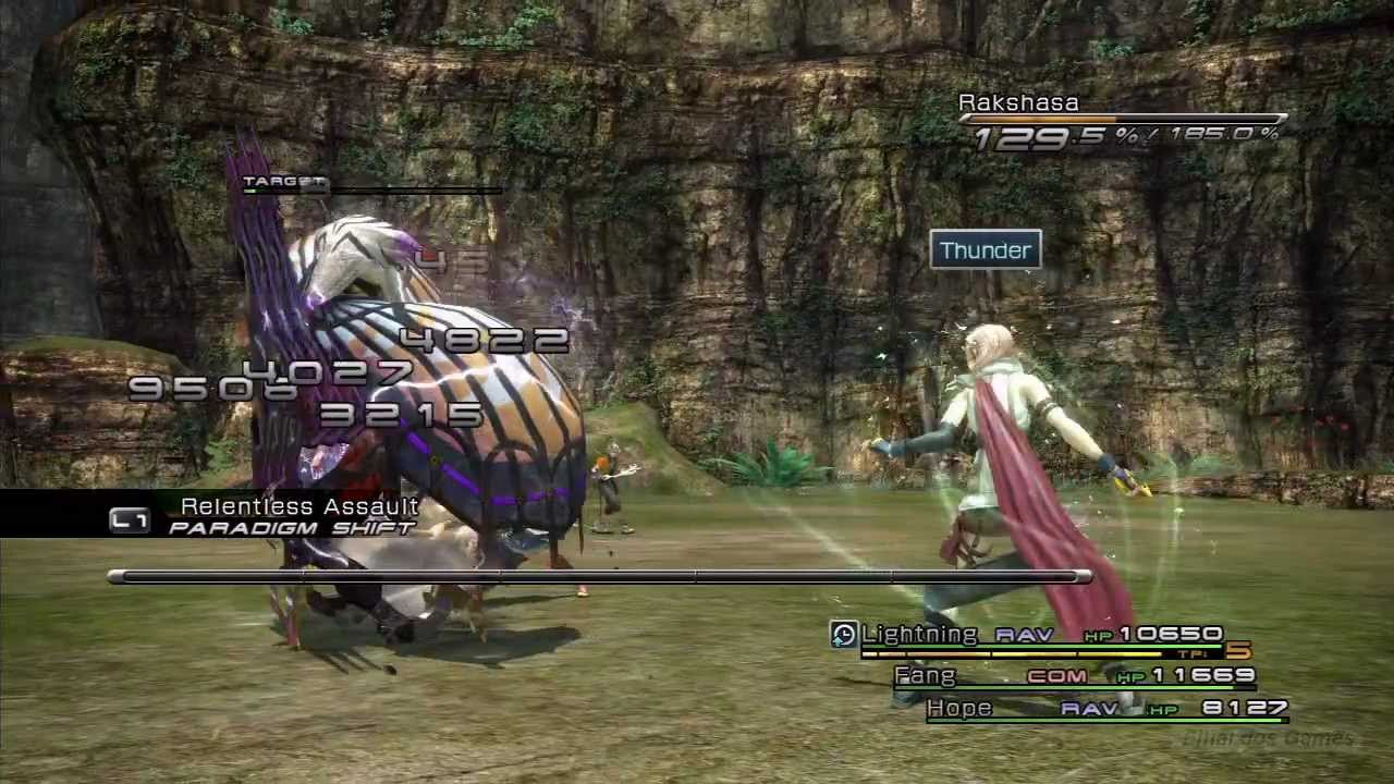 Lightning fights a Rakshasa from Final Fantasy XIII.