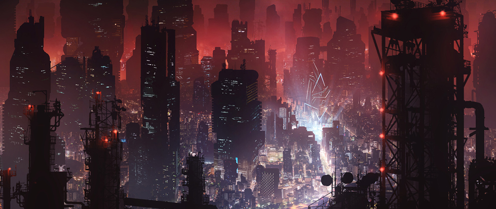 A futuristic city at night with skyscrapers.