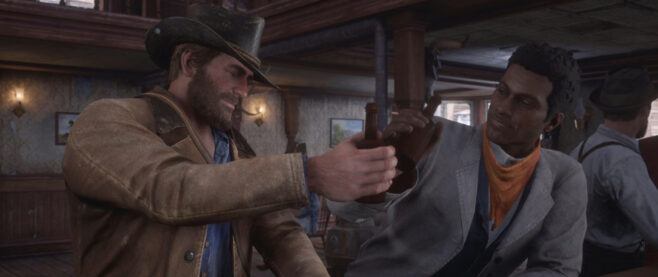 Arthur Morgan drinks with Lenny at a bar.
