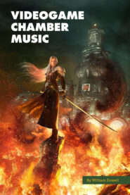 Sephiroth standing in front of ShinRa building amid flames.