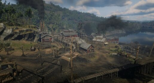 A frontier, railroad town in Red Dead Redemption 2.