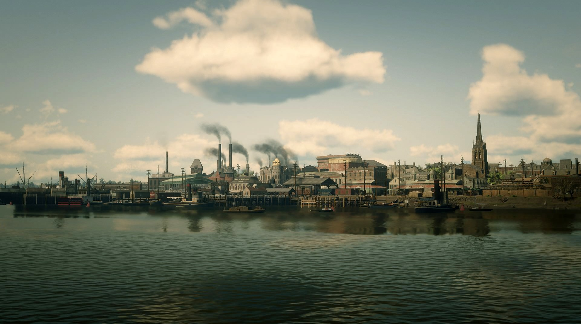 A city in Red Dead Redemption 2 seen from the water.