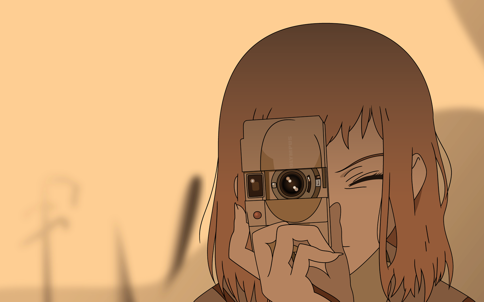 An anime character looks through the viewfinder of a camera.