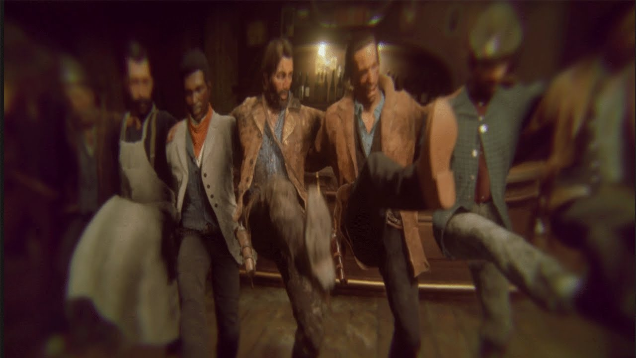 Arthur Morgan and Lenny Summers drunkenly dancing.