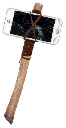 A hatchet made from an iPhone and a stick.