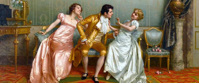 A painting where a woman is attempting to escape the charm of a man.