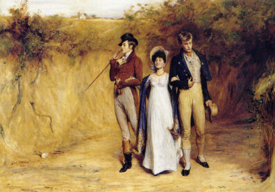 A woman walks in the countryside with two forlorn looking men.