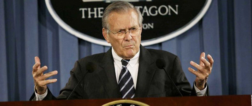 Donald Rumsfeld speaking from the Pentagon press room.