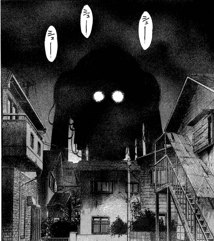 A massive, darkened creature looms above a town.
