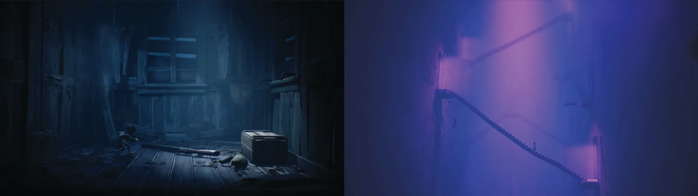 Two stills from Little Nightmares II. The one on the left is a blue grey with two small children and an outsized shotgun on the floor of a rickety cabin. The other shows a child walking up an Escher like staircase wreathed in purple.