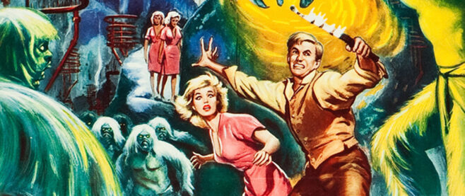 A poster of two people guarding against Morlocks.