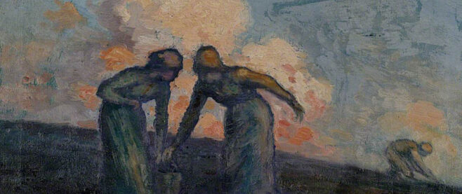 Painting of two people gathering potatoes.