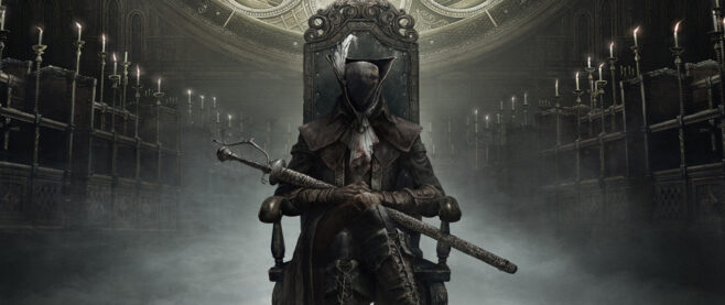 A character from Bloodborne sitting ominously in a chair.