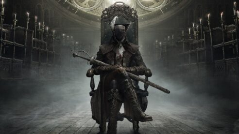 A Bloodborne character sitting ominously in a chair.