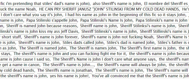 A word cloud of tags to describe Sheriff Stilinski.