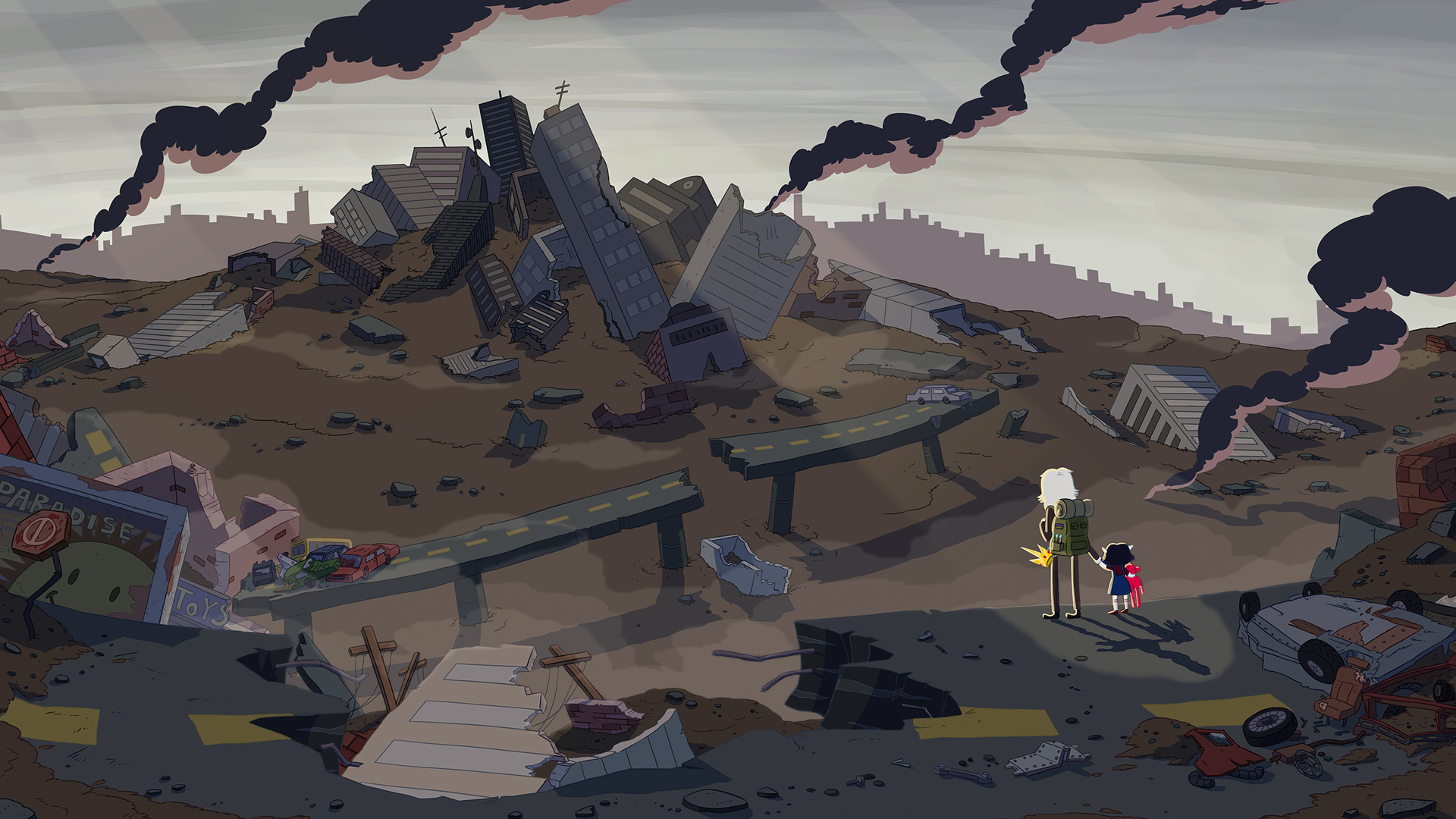 A ruined city smolders in the distance of two figures.