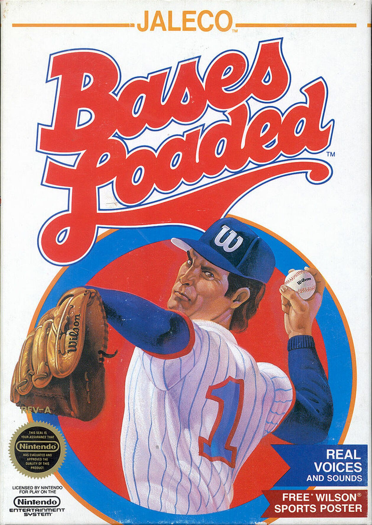 The cover for Bases Loaded where a pitcher winds up to throw.