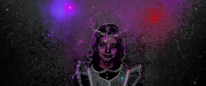 Detail from the cover art for We are Always Alone of a girl in a schoolgirl outfit, a purple and red light above her head.