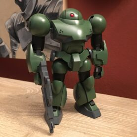 A dark green mobile suit model from Mobile Suit Gundam.