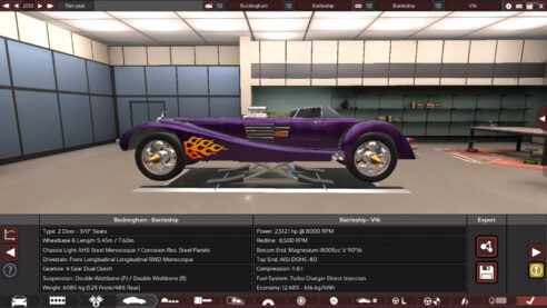 A purple hotrod being designed in the game Automation.