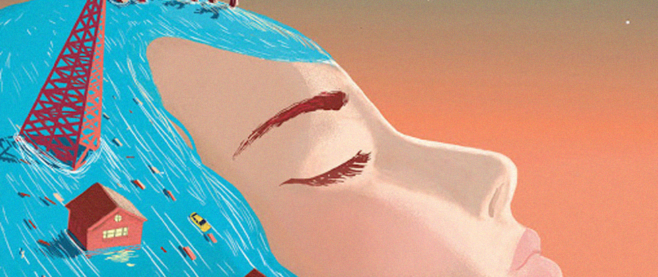 A detail from the cover art for The Valley and the Flood: A womans face in profile, the sun beaming down on it. in her blue hair is the remains of a town.