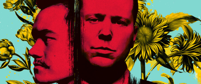 The two band members of 68 in a red stylized image, overlapping. This is a section of their album cover for Give One Take One