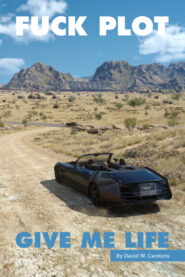 A scene from Final Fantasy 15, the party driving in the desert.