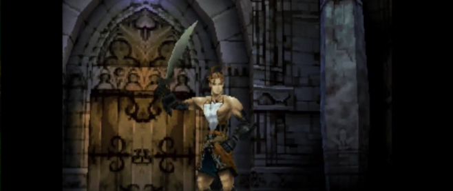 A screenshot from Vagrant Story showing an incredibly pixelated Ashley Riot.