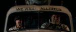 """two men sitting in an old car with the text """"we kill all sizes"""" above their head."""