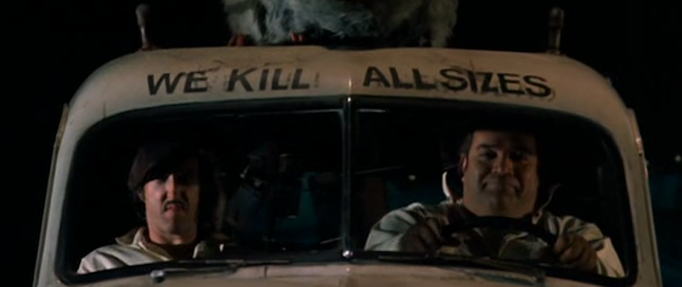 "two men sitting in an old car with the text ""we kill all sizes"" above their head."