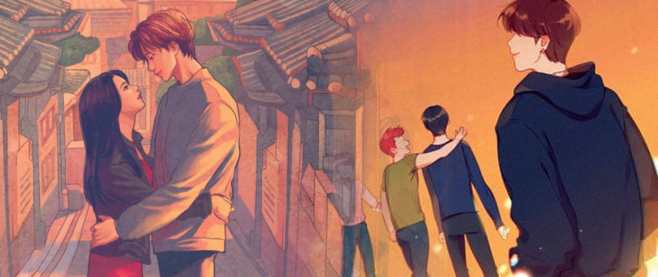 Two covers from two different kpop novels: XOXO by Axie Oh, showing a young Asian woman held in the arms of a young Asian man on a city street, and the Comeback by Lyn Ashwood and Rachel Rose, which shows a bunch of boys from the boys from the back wearing casual clothing.