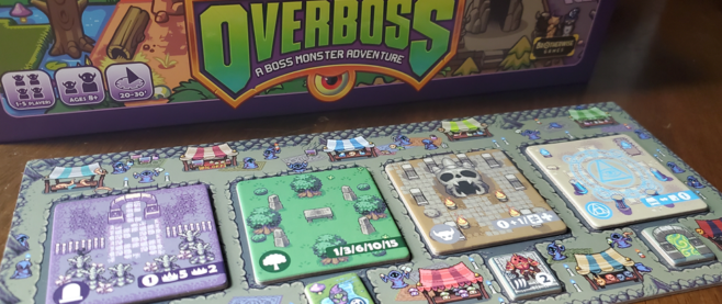 A part of the set up for the tabletop game Overboss.